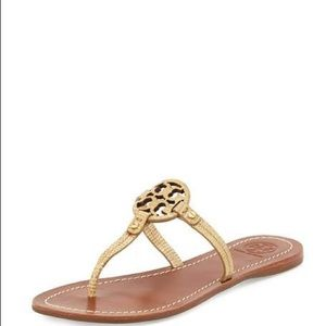 5788d612d Tory Burch. Tory Burch Mini Miller Snake-Embossed Flat Sandals.  128  198